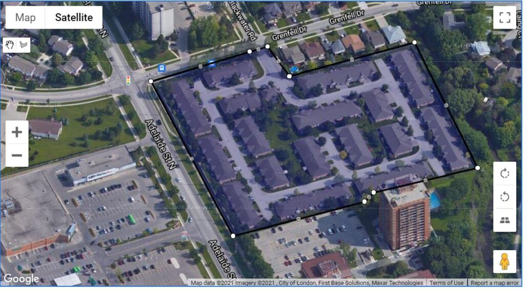 601 Grenfell Drive London Ontario map locating where these one floor townhouses are