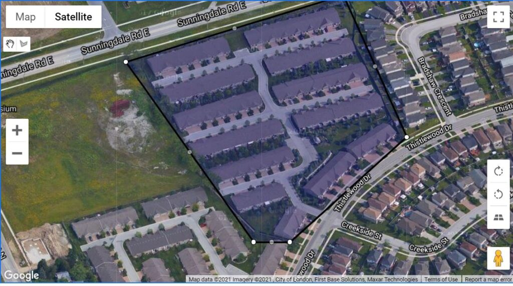 620 Thistlewood Drive London Ontario map of one floor townhome condos