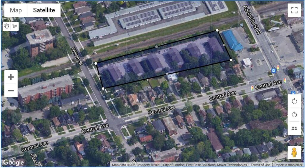 624 William Street London Ontario map location of where these townhouse condos are
