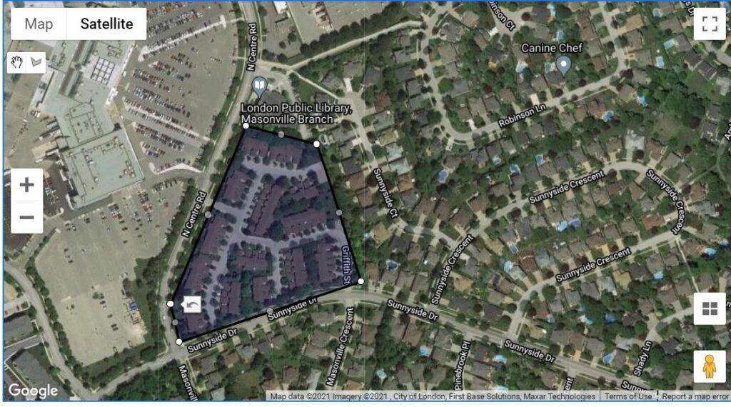 70 Sunnyside Drive London Ontario Townhouses location map
