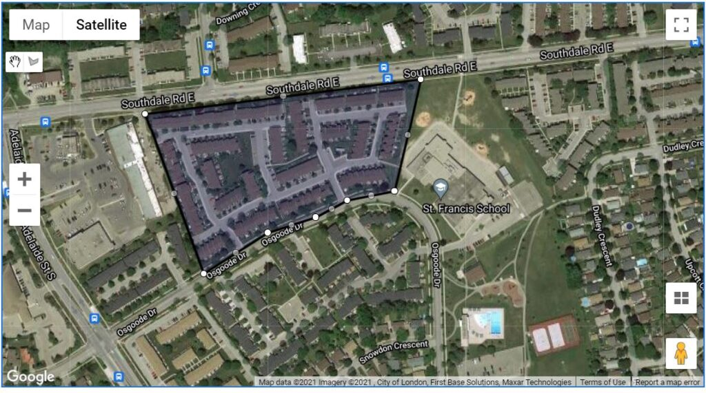 700 Osgoode Drive London Ontario Townhouse Condos location map