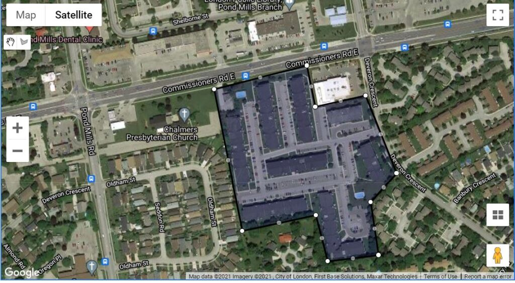 725-739 Deveron Cr London Ontario location map of the apartment condos
