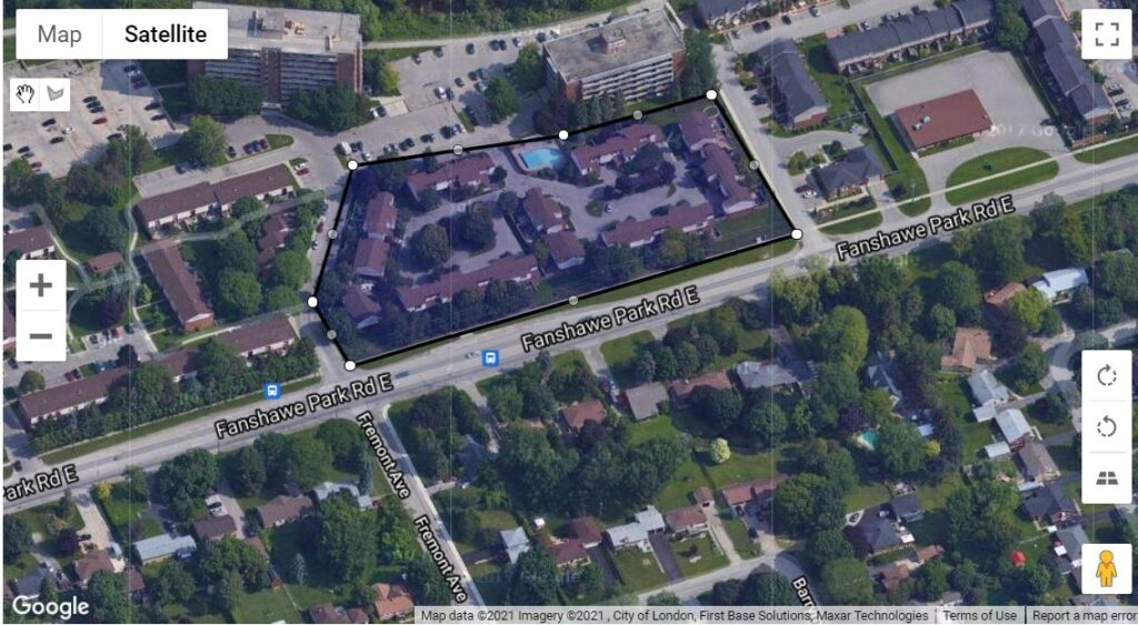 770 Fanshawe Park Road E London Ontario location map of the townhouse condos