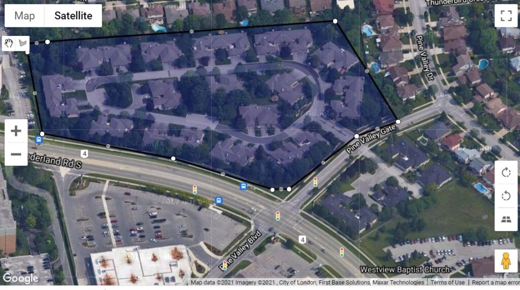 93 Pine Valley Gate London Ontario location map of these one floor townhomes