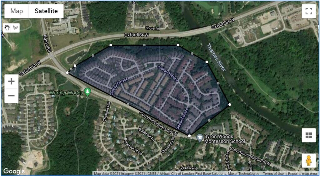 A location map of the 8 townhouse enclaves at Cadeau Terrace in London Ontario