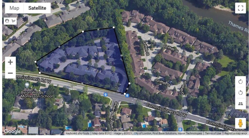 1465 Commissioners Road West London Ontario location map of these townhouses in Byron London