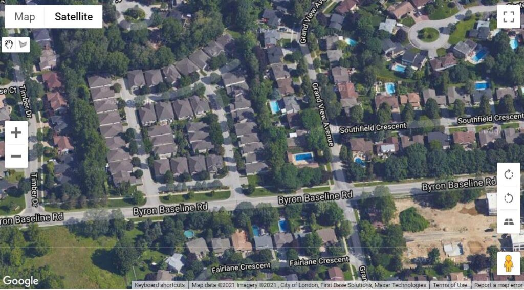 1499 Byron Baseline Road West London Ontario Location Map of these townhouses
