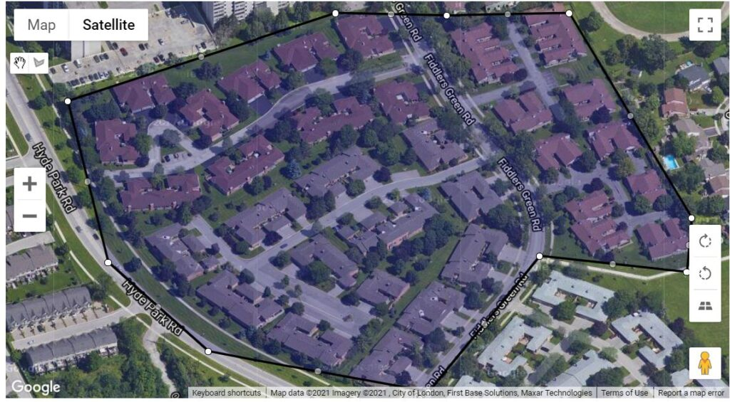 The Fiddlers Green Map Location of the one floor townhouses at 50 Fiddlers Green, 55 Fiddlers Green, 60 Fiddlers Green and 65 Fiddlers Green
