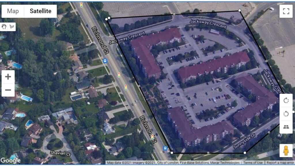 Jacksway Cr in London Ontario location of the 4 apartment buildings