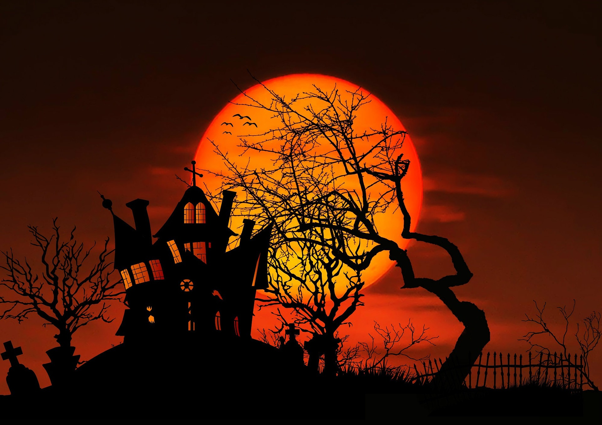 haunted house and full moon sunset