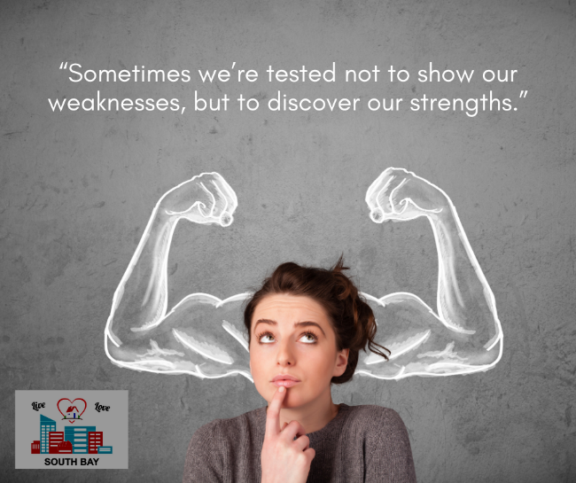 Quote about Discovering Your Strengths and girl with drawing of arms showing off muscles