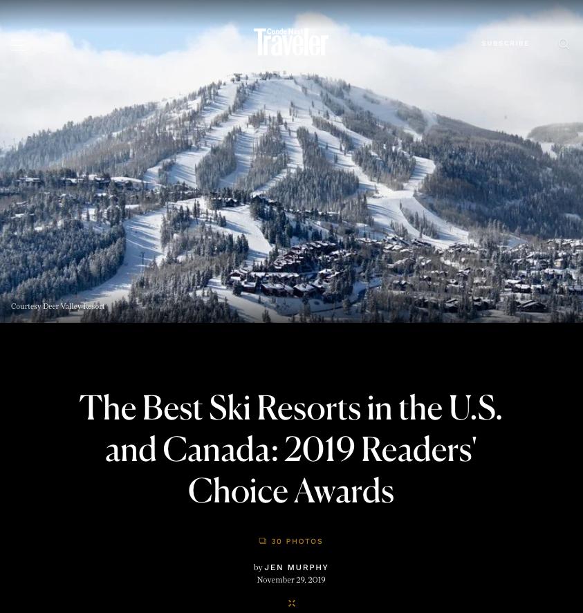 cond de nast traveler's best ski towns