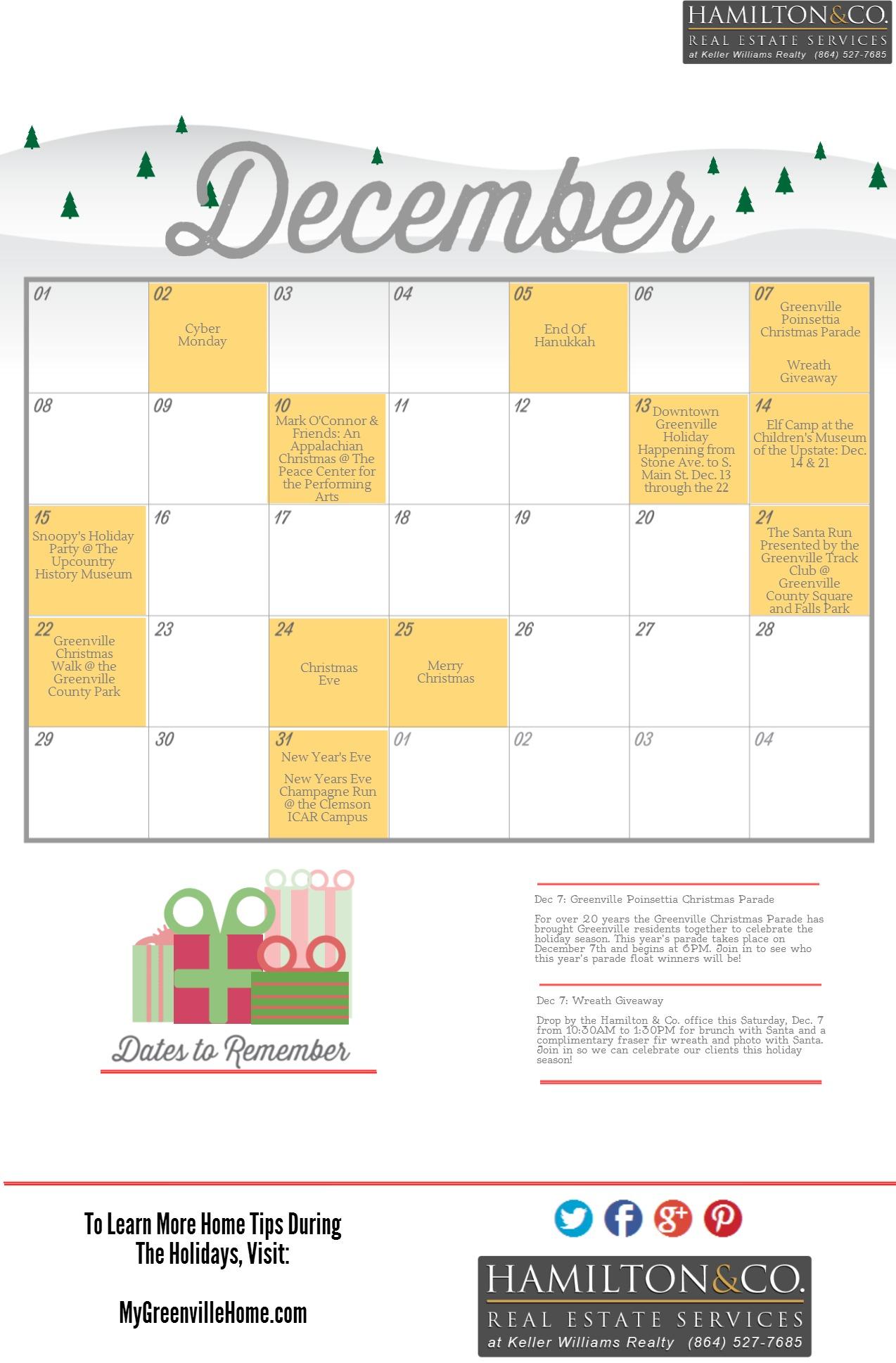 Holiday Calendar Template Greenville
