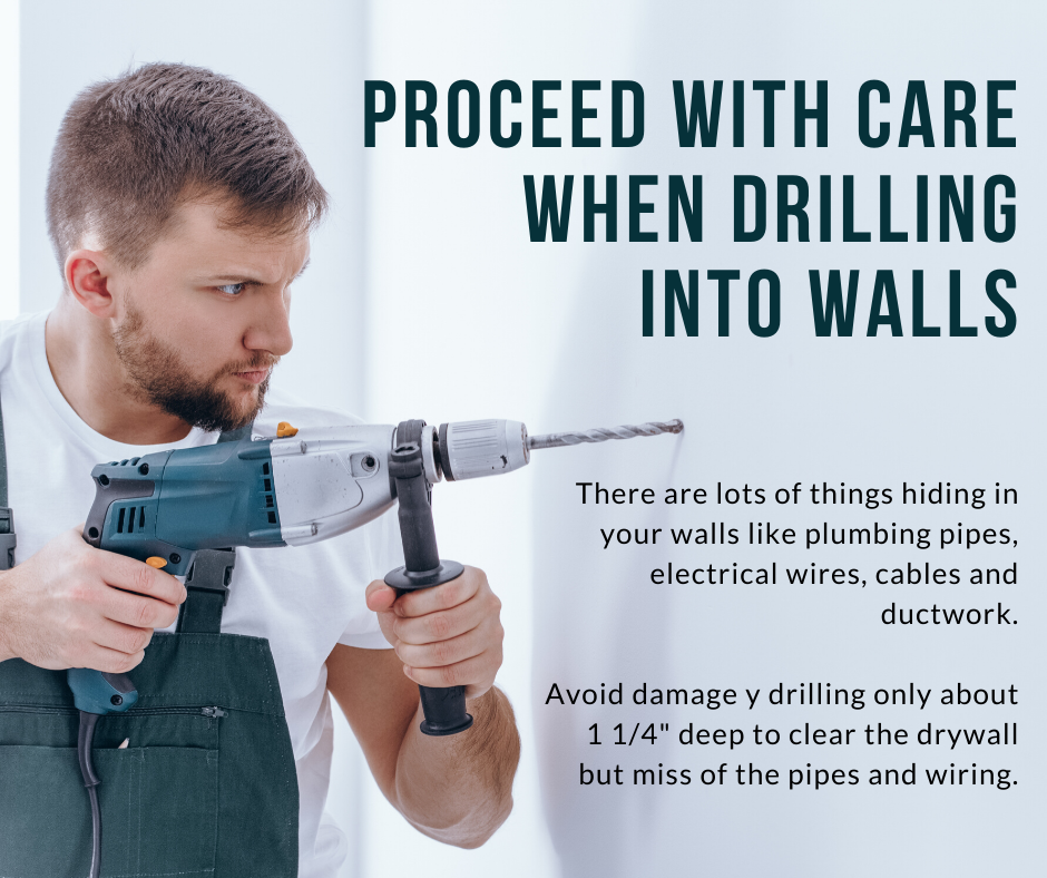 Proceed with Care when drilling into walls