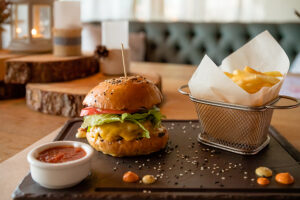 Eat great burgers on Acton real estate.