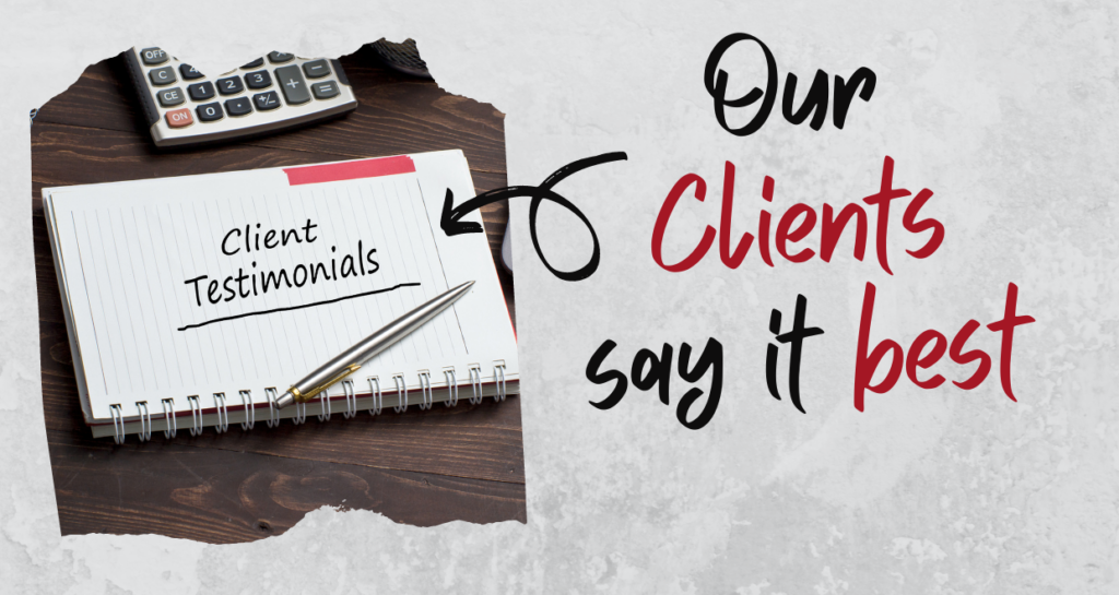 Notebook writing Client Testiimonials with pen on desk