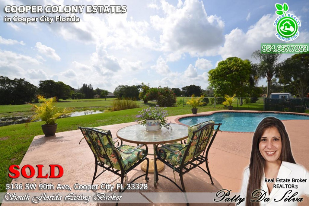 Cooper City Waterview Pool Home on the Golf Course SOLD by Patty Da Silva