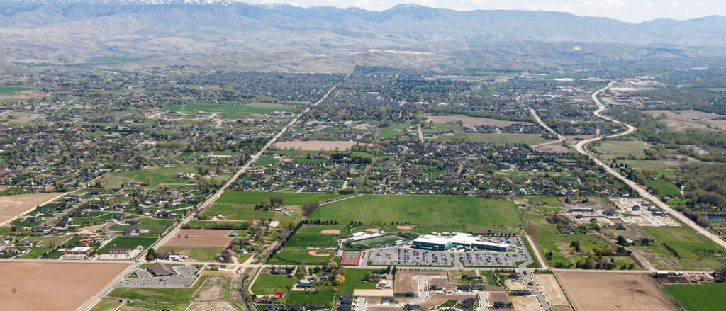 aerial picture of Eagle Idaho with Eagle Highschool in the Foreground. Photo by Build Idaho