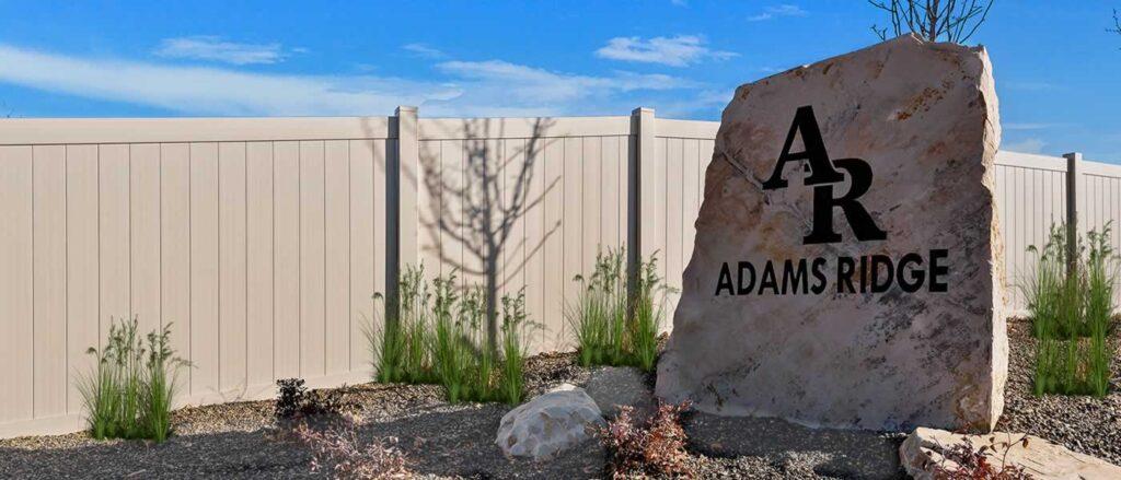 Photo of the entrance to Adams Ridge subdivision in NW Nampa, Idaho. Photo by Build Idaho