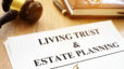 Living Trust And Estate Planning Form On A Desk