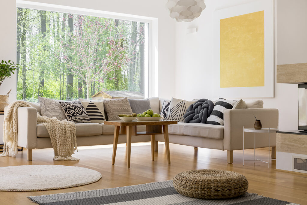 Living room with view of woods