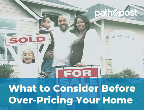 Happy family standing outside of their sold home, showing a concept of ideal home pricing.