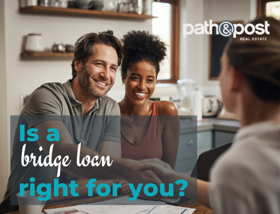 couple meeting with real estate agent about a bridge loan