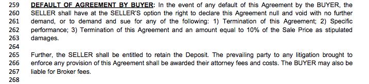 LA real estate purchase agreement - buyer default