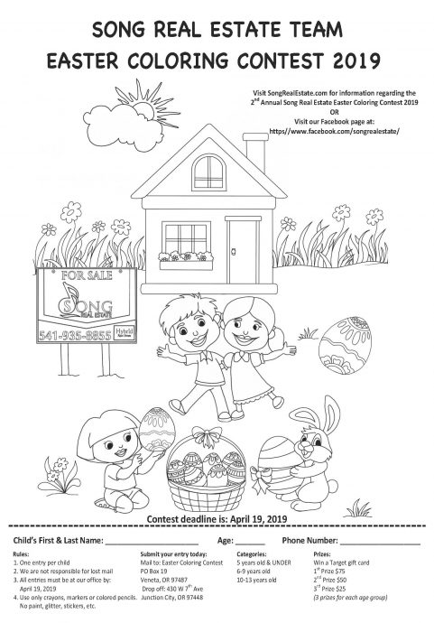 Song Real Estate Team 2019 Easter Coloring Contest Eugene Real